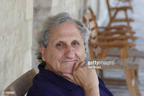 Portrait of Israeli author Abraham B Yehoshua, in the Mishkenot Sha'ananim neighborhood, Jerusalem, Israel, July 21, 2006.