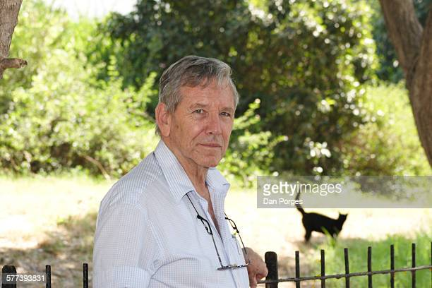 Portrait of Israeli author Amos Oz as he poses in a park, Tel Aviv, Israel, July 19, 2007.