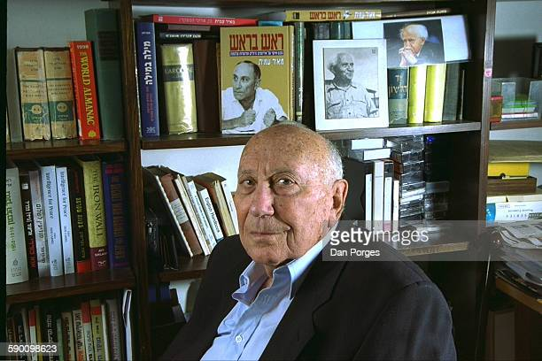 Portrait of Israeli politician and former Mossad Chief Director Meir Amit , in front of a bookcase in his home, Ramat Gan, Israel, March 25, 2003.