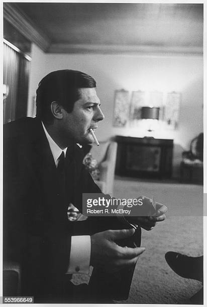 Portrait of Italian actor Marcello Mastroianni a cigarette in his mouth and a pack of matches in his hand New York May 1967
