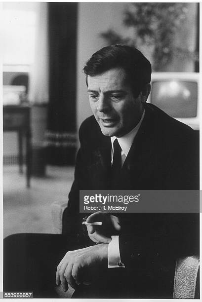 Portrait of Italian actor Marcello Mastroianni as he guestures a cigarette in one hand New York May 1967