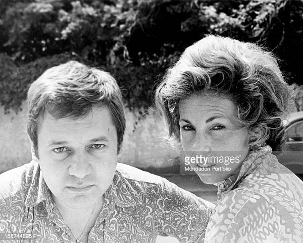 Portrait of Italian actor Paolo Villaggio with his wife Maura Albites Viareggio July 1968