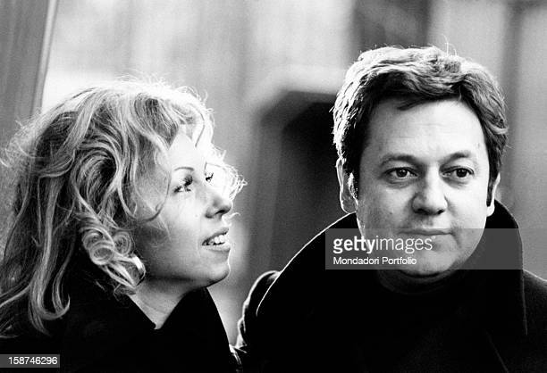 Portrait of Italian actor Paolo Villaggio with his wife Maura Albites Milan 1970s