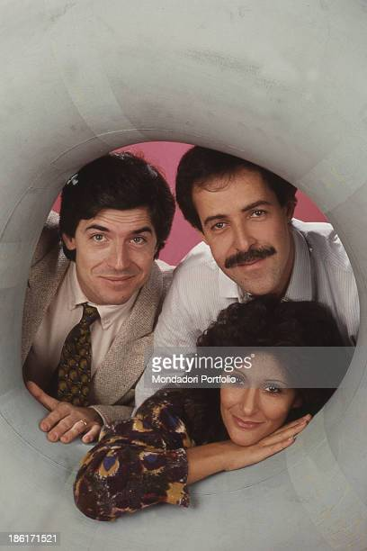 Portrait of Italian actors and comedians Massimo Lopez, Tullio Solenghi and Anna Marchesini. The comedians form the comic group called Trio. Italy,...