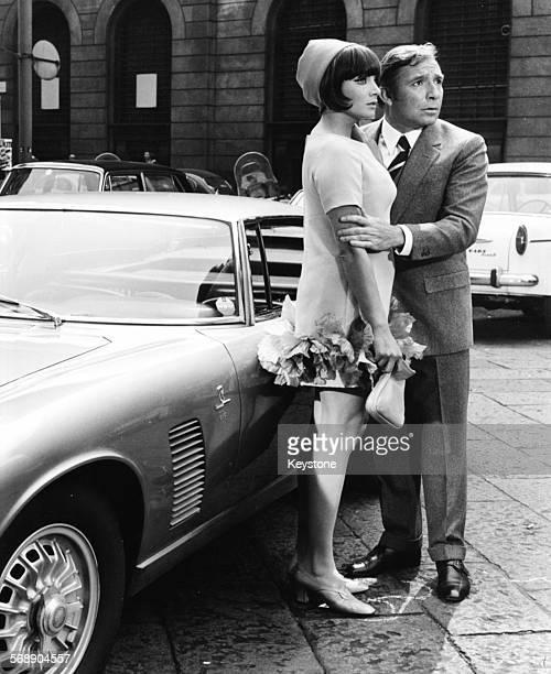 Portrait of Italian actors Ugo Tognazzi and Maria Grazia Buccella in a scene from the film 'Sissignore' Milan April 1968