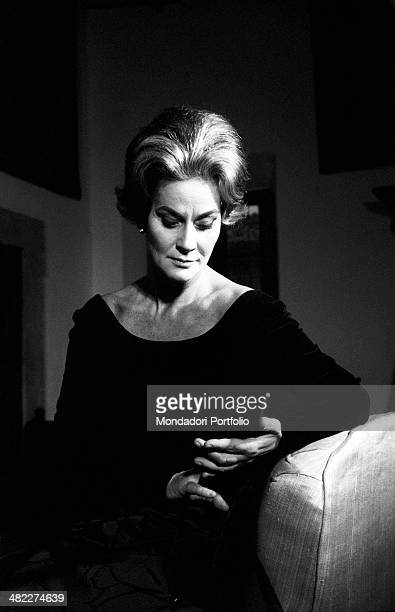 Portrait of Italian actress Alida Valli looking troubled Italy 1960s