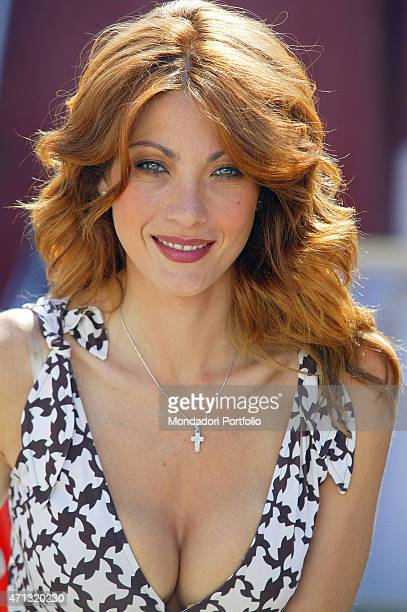 Portrait of Italian actress and showgirl Milena Miconi playing the maior of the city in Umbria in a photo shooting on the set of the fiction 'Don...