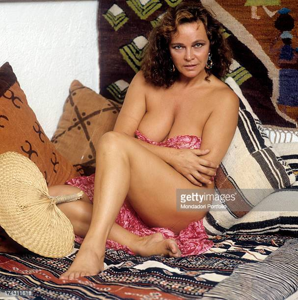 Portrait of Italian actress Laura Antonelli in a provoking pose Italy 1989