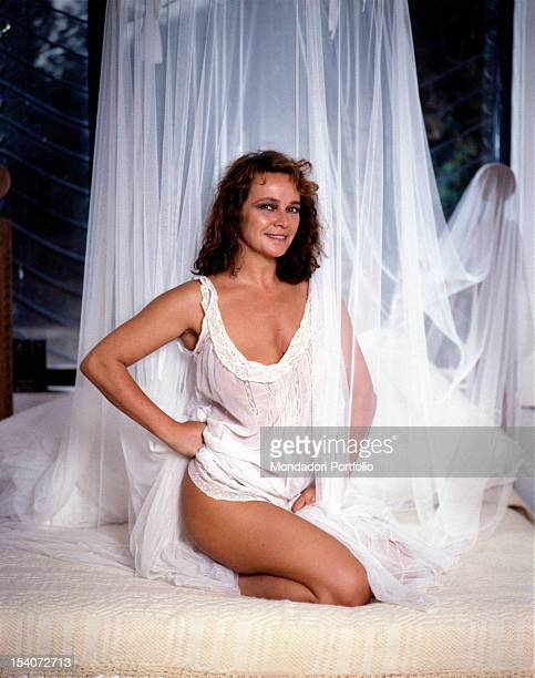 Portrait of Italian actress Laura Antonelli in a seductive pose 1989