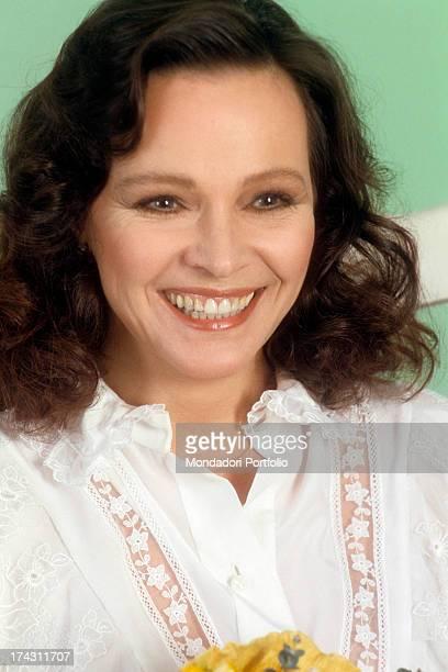Portrait of Italian actress Laura Antonelli smiling. Italy, 1982.