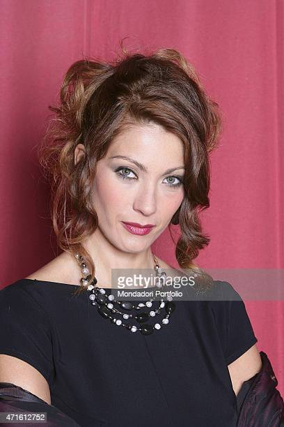 Portrait of Italian actress Milena Miconi in a photo shooting on the set of the TV series 'Don Matteo 5' inside the theatre of the city Gubbio...