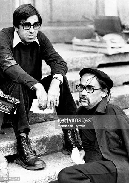 Portrait of Italian directors and brothers Paolo Taviani and Vittorio Taviani on the set of the film Allonsanfàn Erba 1974