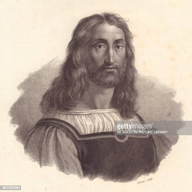 Portrait of Italian engraver Marcantonio Raimondi copper engraving by Barni from a painting by Raffaello Sanzio from Iconografia italiana degli...