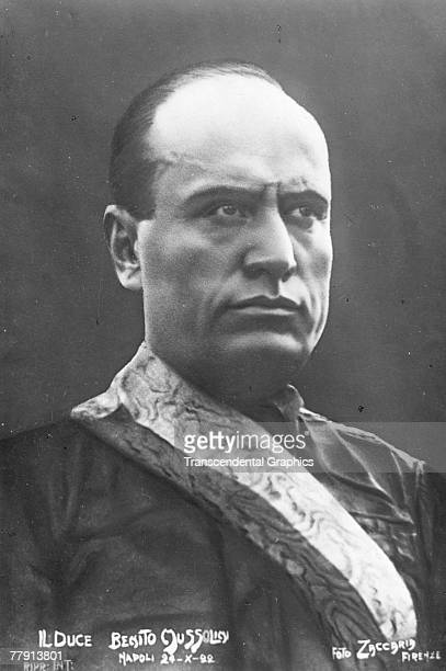 Portrait of Italian facist dictator Benito Mussolini , Naples, Italy, October 24, 1922. The image is a postcard, by the Florence-based Foto Zaccaria,...