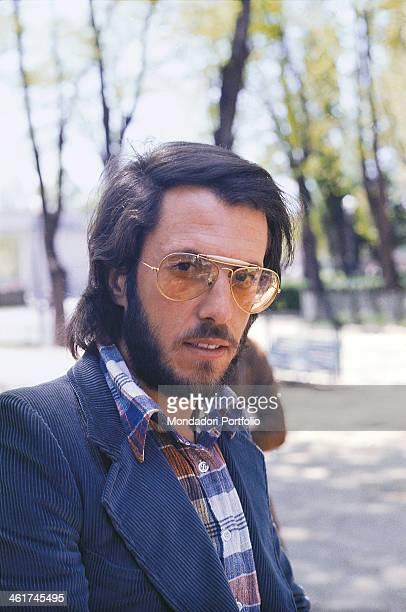 Portrait of Italian guitarist of the band Nomadi Franco Midili 1970s