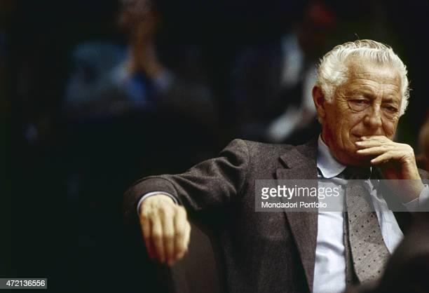 'Portrait of Italian industrialist and politician Gianni Agnelli president of FIAT 1980s '