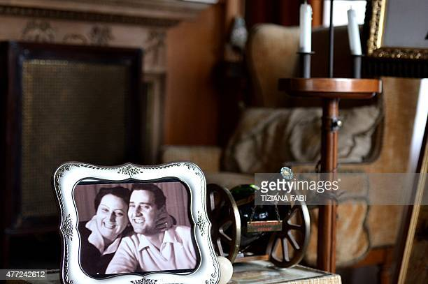 Portrait of Italian movie star Alberto Sordi posing with his sister Amelia is seen on a table during an opening day to the press of the house of the...