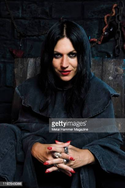 Portrait of Italian musician Cristina Scabbia vocalist with heavy metal group Lacuna Coil photographed at the London Dungeon tourist attraction in...