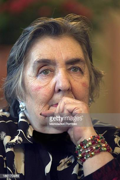 Portrait of Italian poetess and writer Alda Merini with a hand under her chin The honorary citizenship was bestowed to the poetess by the city of...
