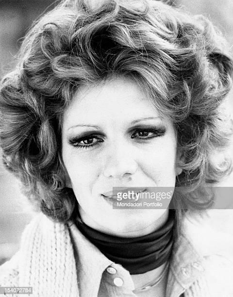 Portrait of Italian singer and TV presenter Iva Zanicchi Lesmo 1970s