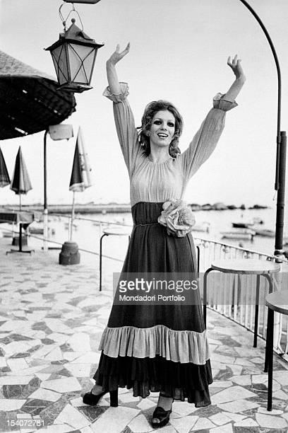 Portrait of Italian singer and TV presenter Iva Zanicchi Rapallo 1970s