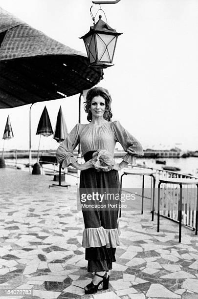 Portrait of Italian singer and TV presenter Iva Zanicchi smiling Rapallo 1970s