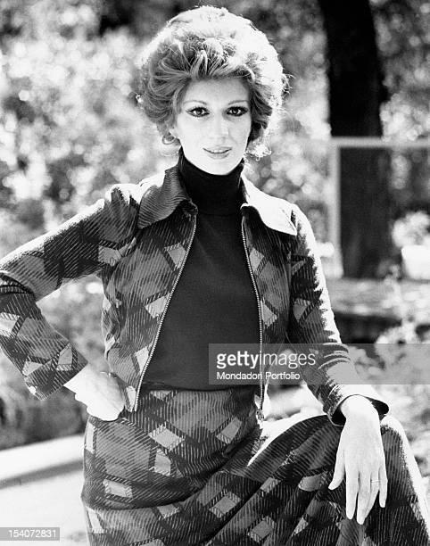 Portrait of Italian singer and TV presenter Iva Zanicchi Venice 1970s
