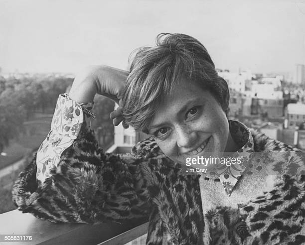 Portrait of Italian singer Rita Pavone on her balcony at the Hilton Hotel prior to appearing on a BBC television show London October 18th 1966