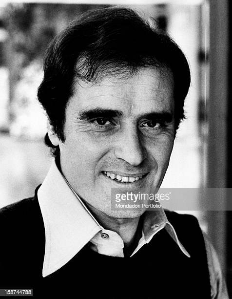 Portrait of Italian singersongwriter Edoardo Vianello smiling Together with his wife Wilma Goich he founded the band I Vianella Rome 1970s