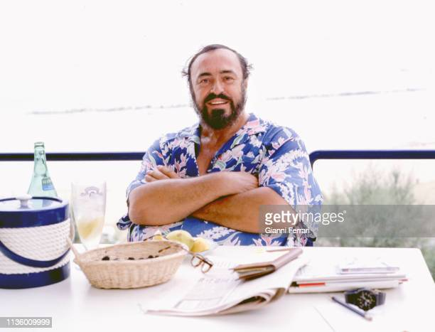 Portrait of Italian tenor Luciano Pavarotti at his home, Pesaro, Italy, 1993.