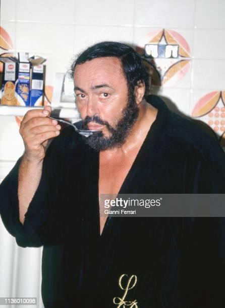 Portrait of Italian tenor Luciano Pavarotti at his home, Pesaro, Italy, 1993.