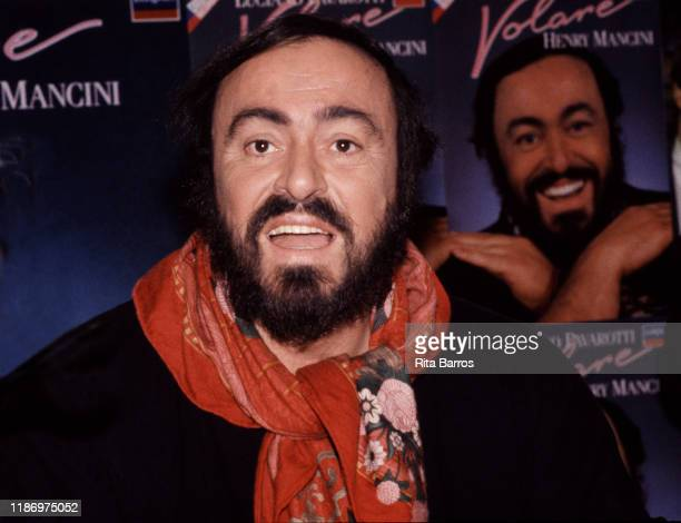 Portrait of Italian tenor Luciano Pavarotti during a signing of his album 'Volare' held at a Sam Goody record store New York New York December 2 1987