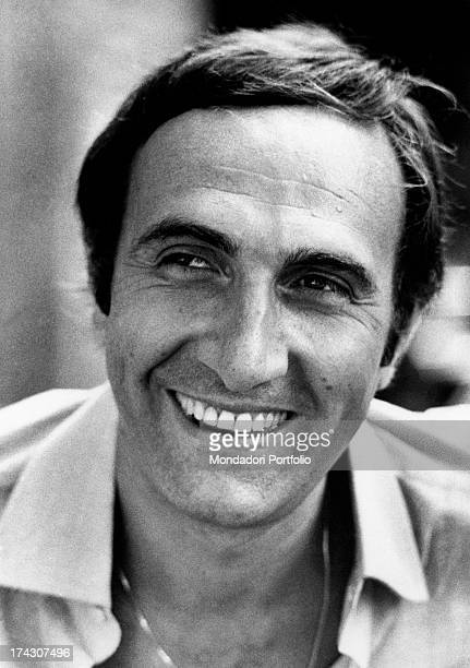 Portrait of Italian TV presenter Pippo Baudo smiling. Rome, 1973.