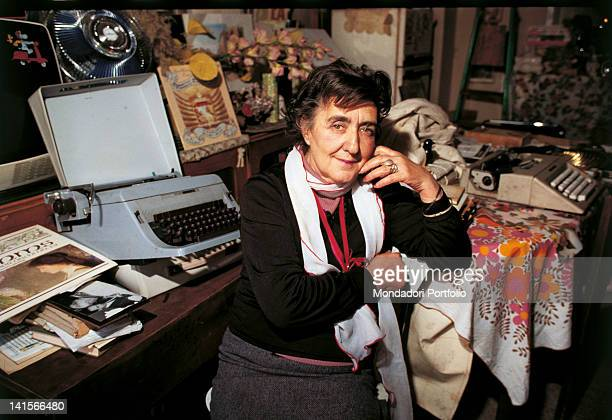 Portrait of Italian writer Alda Merini at her desk 1980s