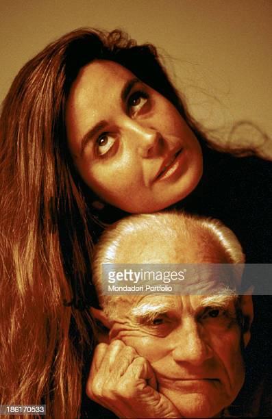 Portrait of Italian writer and journalist Alberto Moravia with his Spanishborn Italian partner and writer Carmen Llera Rome 1984