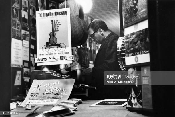 Portrait of Izzy Young as he stands in the Folklore Center his music store/performance space/hang out New York New York November 7 1962