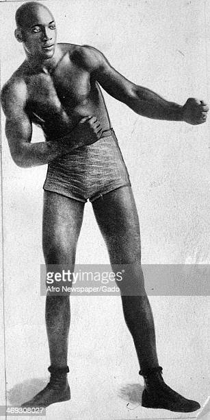 Portrait of Jack Johnson professional boxer in boxing stance 1908