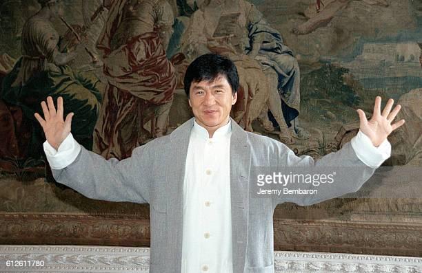 Portrait of Jackie Chan on visit to Paris.