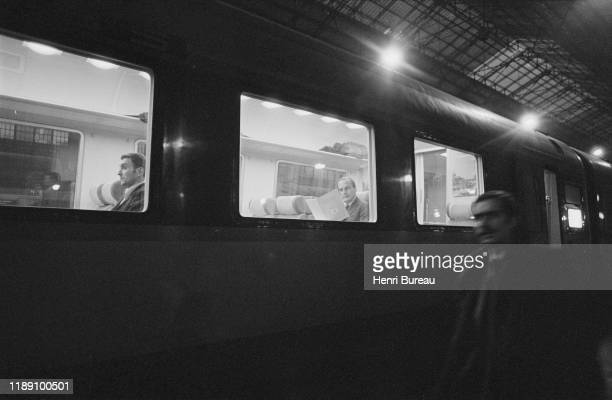 Portrait of Jacques Chirac, in the train at Gare d'Austerlitz going to Correze, Paris, 22 January 1977