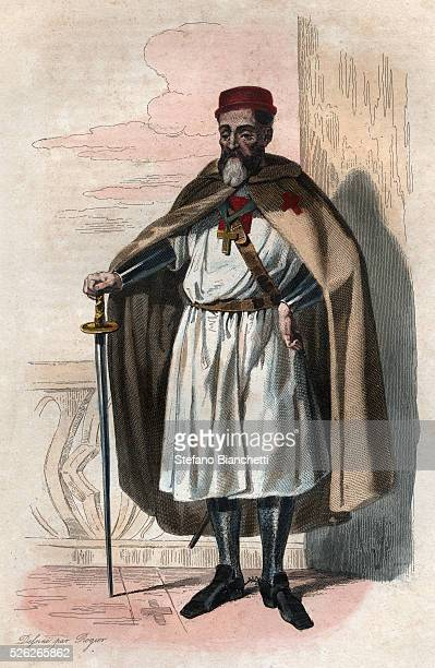 Portrait of Jacques of Molay Grand Master of the Knights Templar Illustration from Le Plutarque Francais by Edmond Mennechet 1836 �� Stefano...