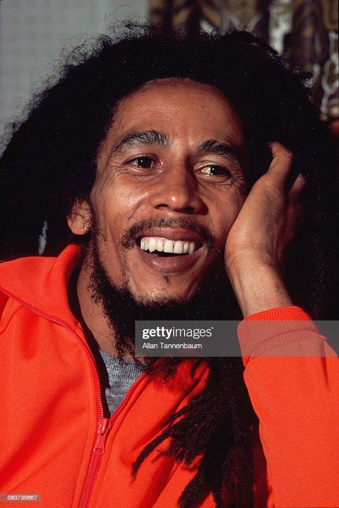 Portrait of Jamaican Reggae musician Bob Marley, mid to late twentieth century.