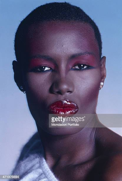 Portrait of Jamaican singer and actress Grace Jones 1987