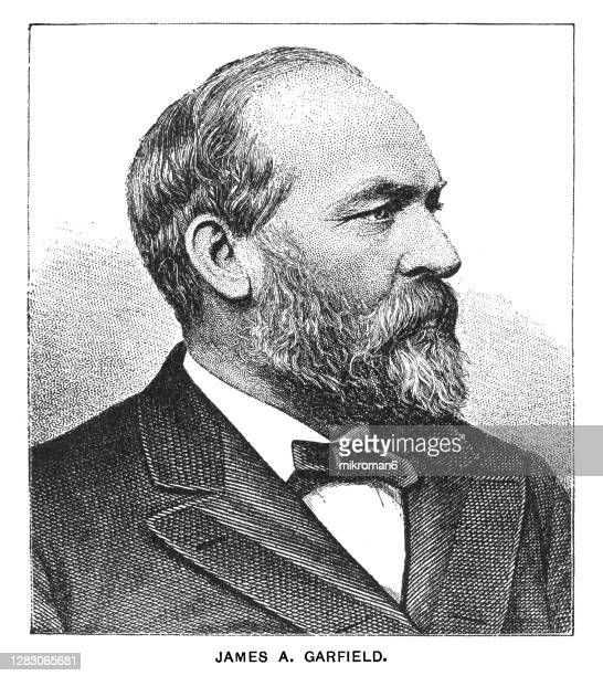 portrait of james abram garfield, 20th president of the united states, serving from march 4, 1881, until his death - us president stock pictures, royalty-free photos & images