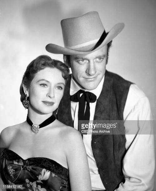 Portrait of James Arness and Amanda Blake . They star in the CBS television western, Gunsmoke. April 22, 1955.