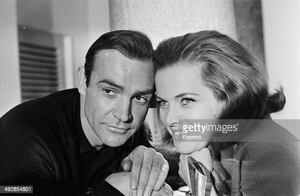 Portrait of James Bond actors Sean Connery and Honor Blackman to promote the film 'Goldfinger' 1964