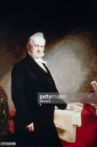 Portrait of James Buchanan 15th President of the United States in his study Painting by Charles Fenderich