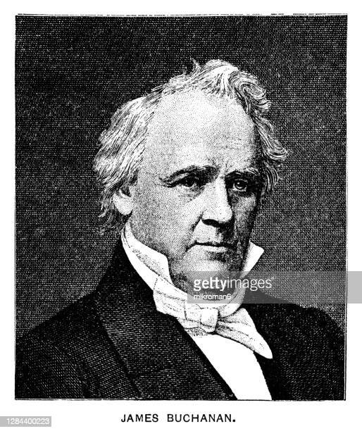 portrait of james buchanan jr. 15th president of the united states (1857–1861) - sloppy joe, jr stock pictures, royalty-free photos & images