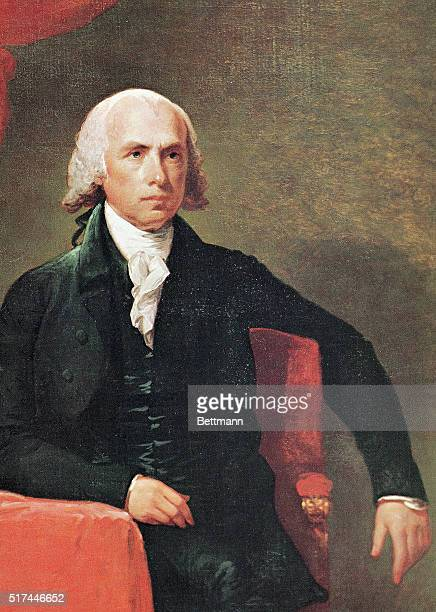 Portrait of James Madison 4th President of the United States He is shown seated with his arm draped over the back of his chair Undated illustration