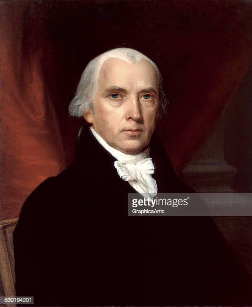 Portrait of James Madison, the 'Father of the Constitution,' by an unknown artist , 1816. The portrait was commissioned by James Monroe.