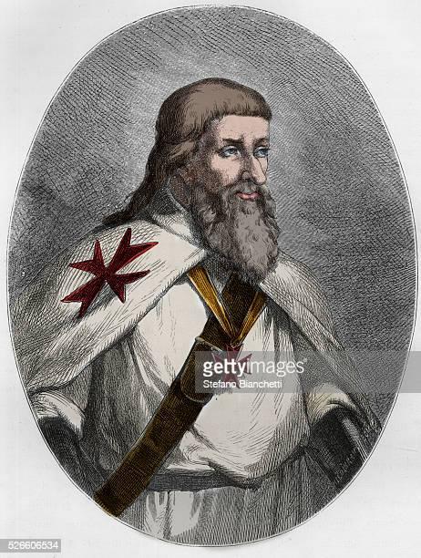 Portrait of James of Molay Grand Master of the Knights Templar engraving from Le Livre Rouge Histoire De L'echafaud en France by Dupray de La Maherie...